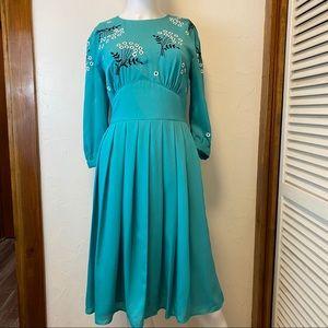 New eShakti Teal Embroidered Dress -10